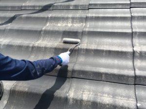 屋根、下塗り