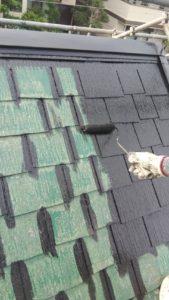 塗り替え  屋根塗装上塗り
