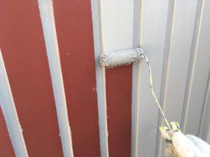 折半屋根上塗り。